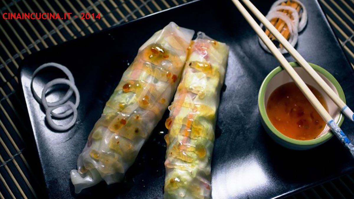 Involtini freschi con verdure e gamberi cinaincucina for Ricette cinesi